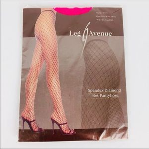 New in Package Diamond Fishnet Stockings Pantyhose Neon Pink Sexy Halloween OS